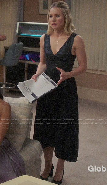 Eleanor's black pleated midi dress on The Good Place