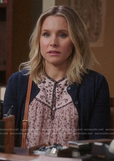 Eleanor's pink floral top on The Good Place