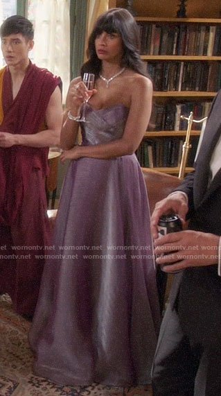 Tahani's purple strapless evening gown on The Good Place
