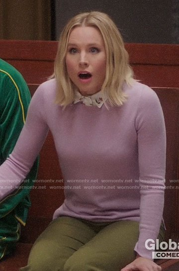 Eleanor's lilac sweater and cherry print shirt on The Good Place