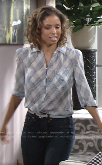 Elena's plaid blouse on The Young and the Restless
