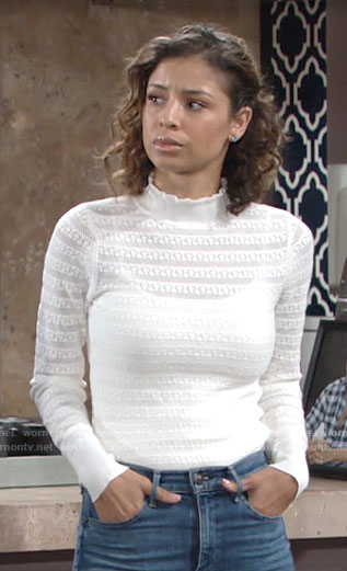 Elena's white ruffle neck sweater on The Young and the Restless