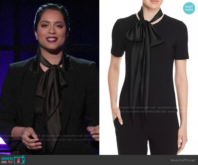 Elie Tahari Elisandra Neck-Sash Top worn by Lilly Singh  on A Little Late with Lilly Singh