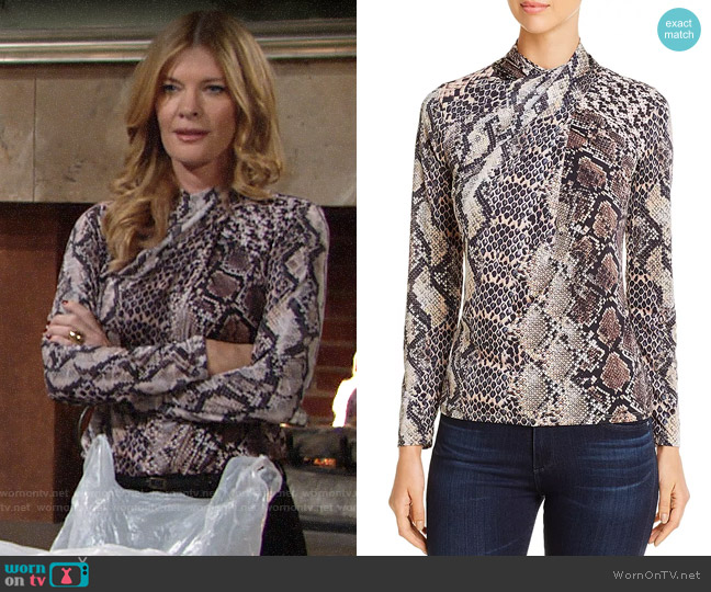 Elie Tahari Keilani Crossover Mock-Neck Top worn by Phyllis Summers (Michelle Stafford) on The Young & the Restless