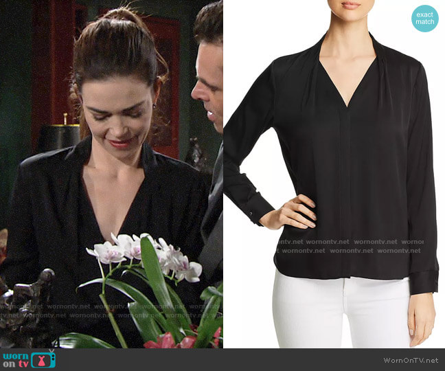 Elie Tahari Rosalina Blouse worn by Victoria Newman (Amelia Heinle) on The Young & the Restless