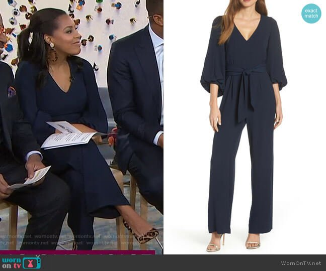 Balloon Sleeve Jumpsuit by Eliza J worn by Sheinelle Jones  on Today