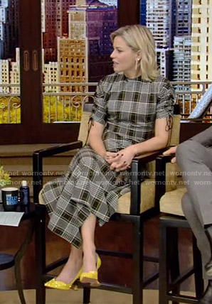 Elizabeth Banks's grey plaid dress on Live with Kelly and Ryan