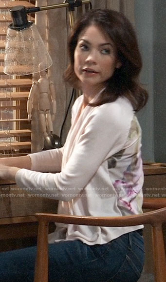 Elizabeth's pink cardigan with floral back on General Hospital