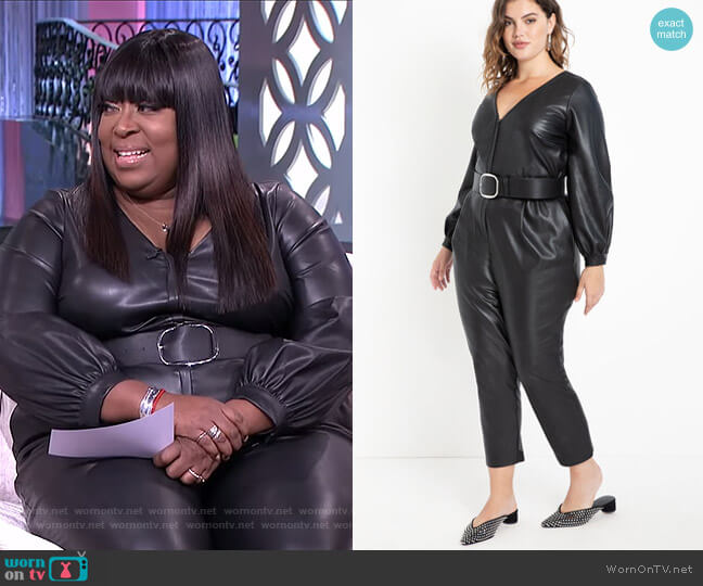 Faux Leather Jumpsuit by Eloquii worn by Loni Love  on The Real