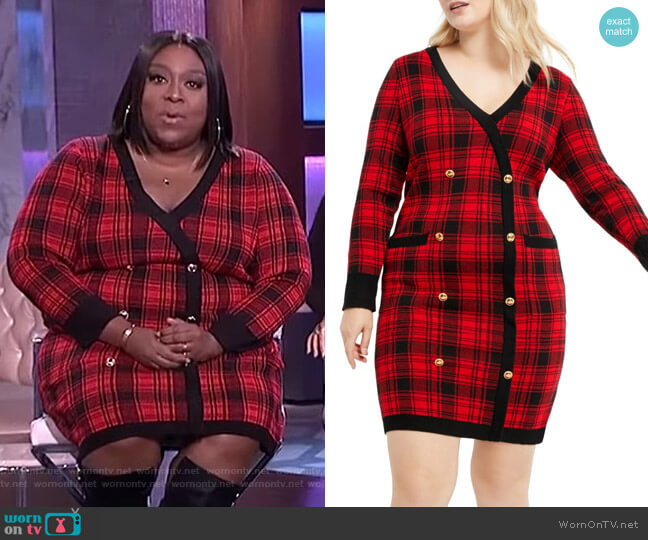 Plaid Long Sleeve Sweater Dress by Eloquii worn by Loni Love  on The Real