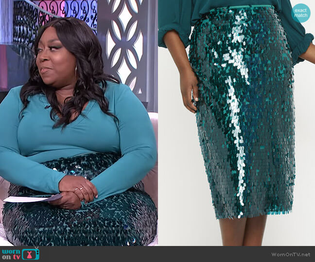 Sequin Pencil Skirt by Eloquii worn by Loni Love  on The Real