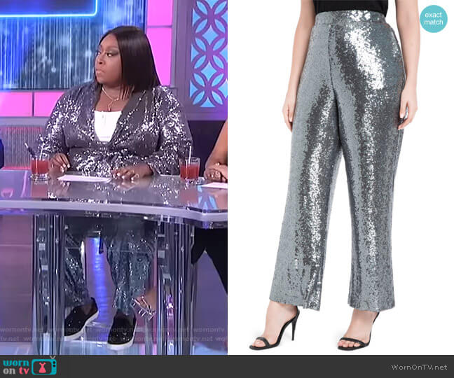 Sequin Wide Leg Trousers by Eloquii worn by Loni Love  on The Real
