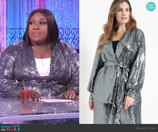 Tie Waist Sequin Jacket by Eloquii worn by Loni Love  on The Real