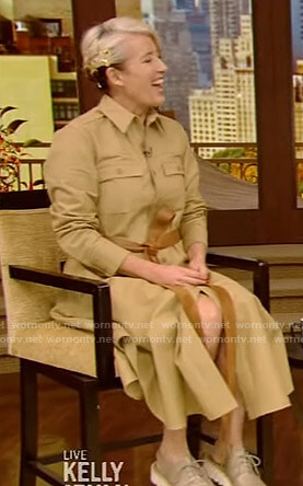 Emma Thompson's beige belted shirtdress on Live with Kelly and Ryan