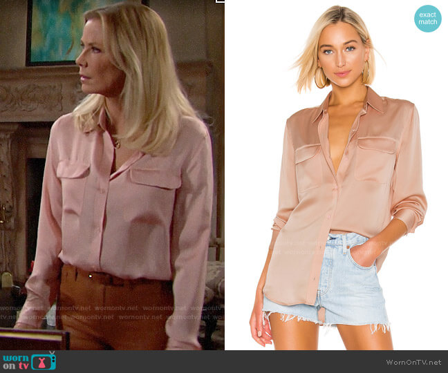 Equipment Slim Signature Blouse in Rose Cloud worn by Brooke Logan (Katherine Kelly Lang) on The Bold & the Beautiful