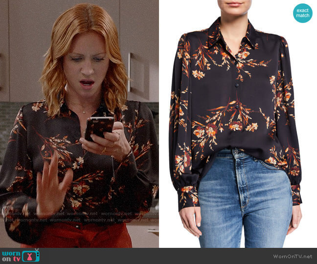 Equipment Danton Floral Button-Down Shirt worn by Julia Bechley (Brittany Snow) on Almost Family