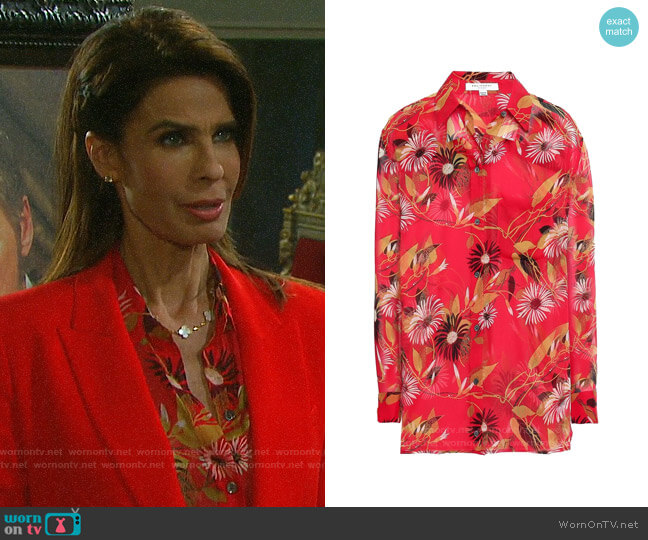 Equipment Daddy Floral Shirt worn by Hope Williams (Kristian Alfonso) on Days of our Lives