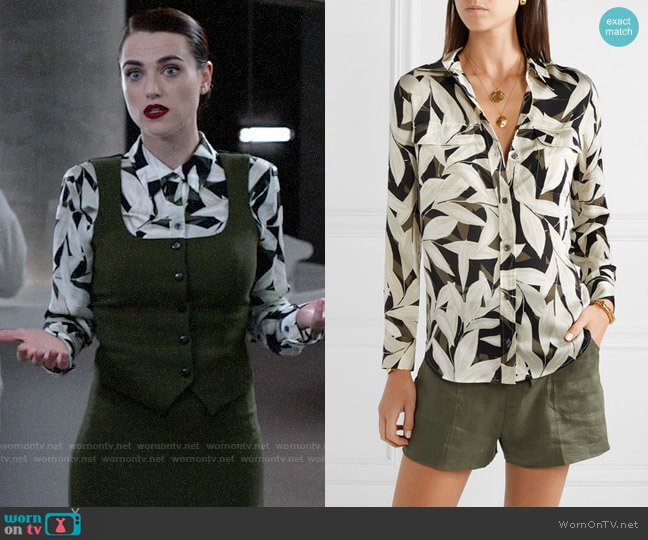 Equipment Slim Signature Printed Crepe de Chine Shirt worn by Lena Luthor (Katie McGrath) on Supergirl