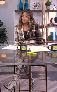 Erin's check belted blazer on E! News Daily Pop