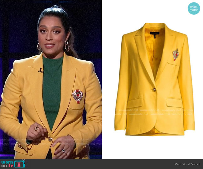 Escada Beart Crest Wool One-Button Blazer worn by Lilly Singh  on A Little Late with Lilly Singh