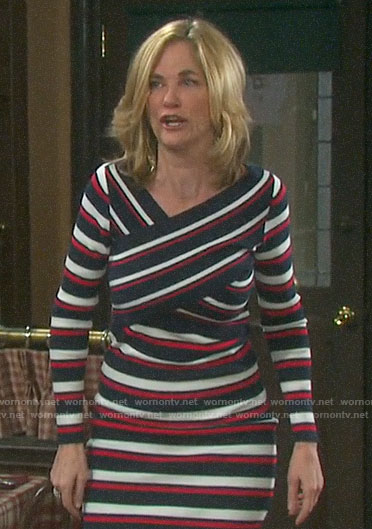 Eve's striped criss cross dress on Days of our Lives