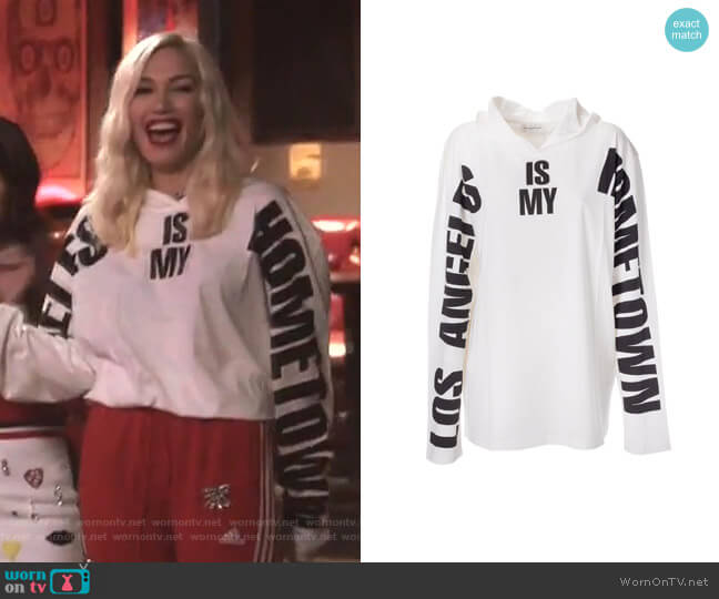 Los Angeles Is My Hometown Print Hoodie by Faith Connexion worn by Gwen Stefani  on The Voice