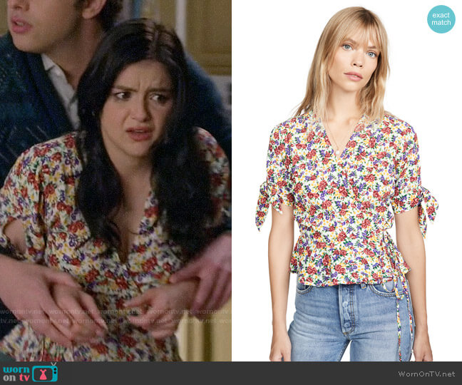 Faithfull the Brand Lucy Wrap Top in Lumina Floral Print worn by Alex Dunphy (Ariel Winter) on Modern Family