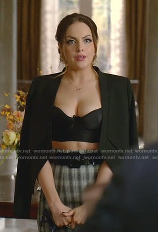 Fallon's black cropped jacket and plaid skirt on Dynasty