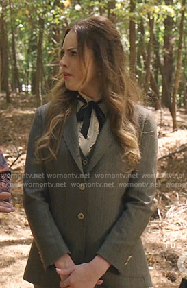 Fallon's grey suit and ruffle tie blouse on Dynasty