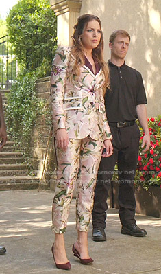Fallon's pink lily print suit on Dynasty