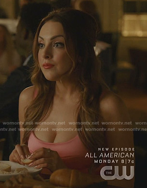 Fallon's pink bustier peplum mini dress on Dynasty