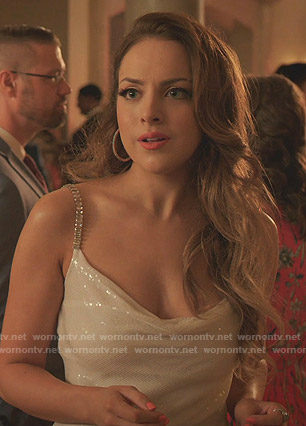 Fallon's sequin embellished dress on Dynasty