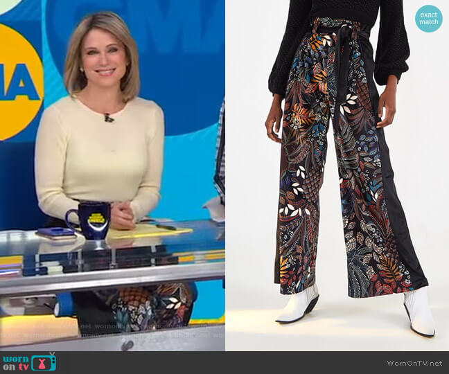 Delicate Forest Clochard Pants by Farm Rio worn by Amy Robach  on Good Morning America