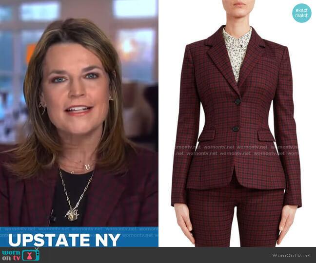 Fenice Plaid Wool-Blend Blazer by Altuzarra  worn by Savannah Guthrie  on Today