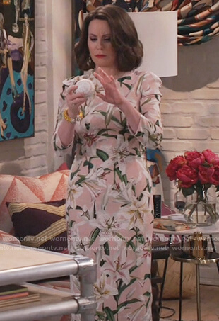Karen's floral print midi dress on Will and Grace