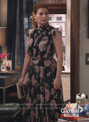 Grace's black floral dress on Will and Grace