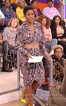 Tamron's floral ruched dress on Tamron Hall Show