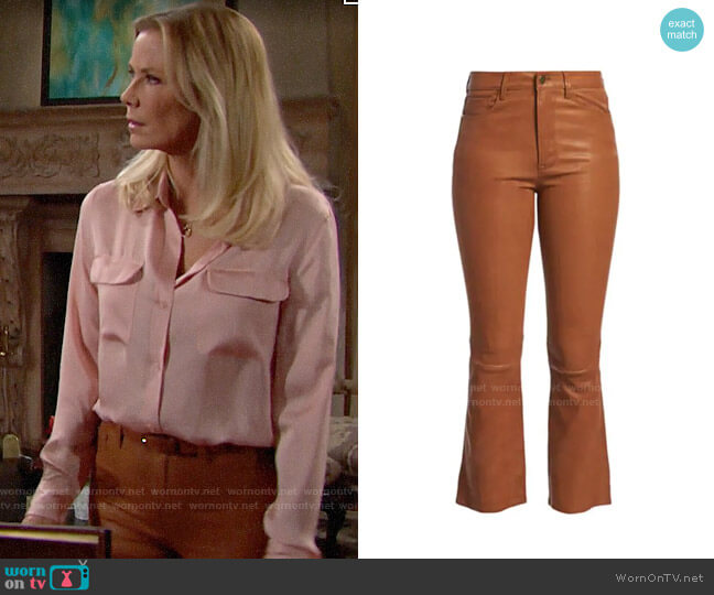 Frame Leather Kick Flare Pants worn by Brooke Logan (Katherine Kelly Lang) on The Bold & the Beautiful