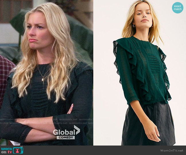 Free People Jasmine Ruffle Blouse worn by Gemma (Beth Behrs) on The Neighborhood