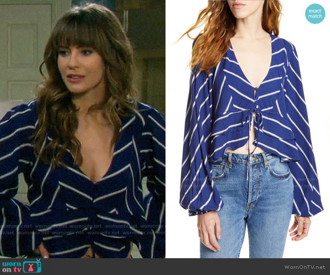 Free People Samifran Ruffle Top worn by Sarah Horton (Linsey Godfrey) on Days of our Lives