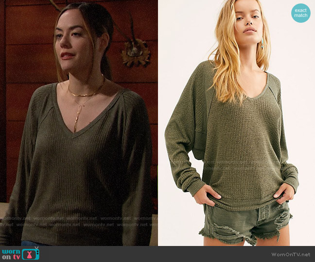 Free People We The Free Santa Clara Thermal in Army Sage worn by Hope Logan (Annika Noelle) on The Bold & the Beautiful