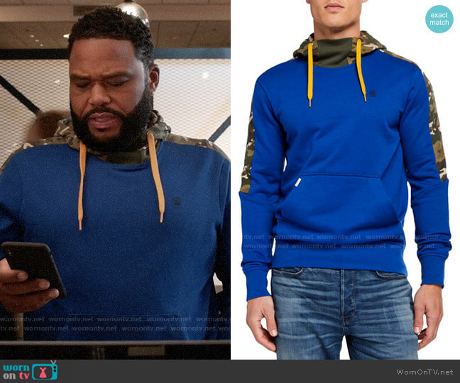 G Star Meson Camo-Panel Pullover Hoodie worn by Andre Johnson (Anthony Anderson) on Blackish