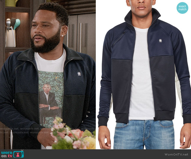 G Star Raw Ore Tracktop Raglan Jacket in Sartho Blue worn by Andre Johnson (Anthony Anderson) on Blackish