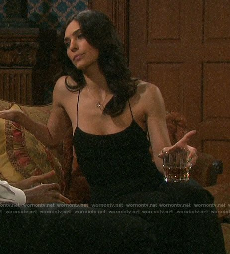 Gabi's black strappy jumpsuit on Days of our Lives