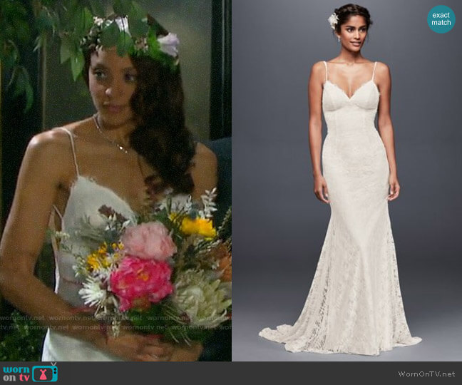 Davids Bridal Galina Soft Lace Wedding Dress with Low Back worn by Lani Price (Sal Stowers) on Days of our Lives