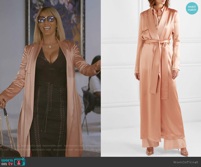 Satin Trench Coat by Galvan worn by Giselle (Nicole Ari Parker) on Empire