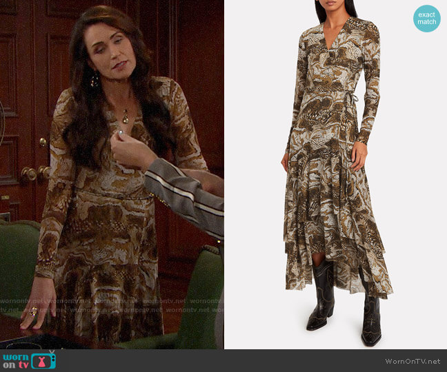 Ganni Marble Print Mesh Wrap Dress worn by Quinn Fuller (Rena Sofer) on The Bold & the Beautiful
