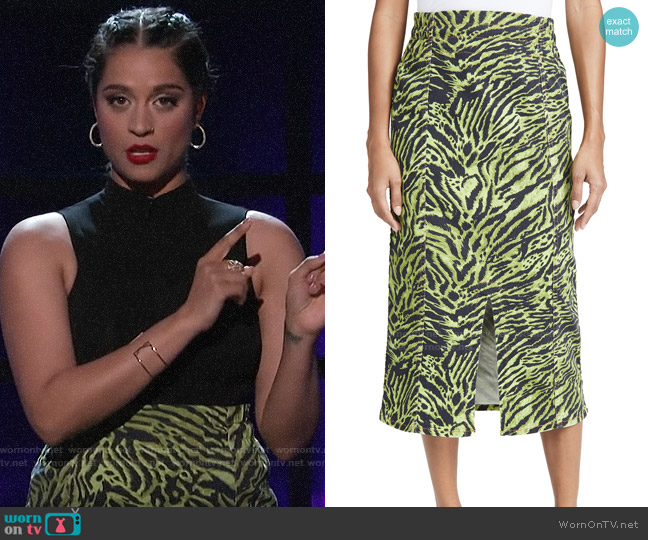 Ganni Soft Tiger Skirt worn by Lilly Singh  on A Little Late with Lilly Singh