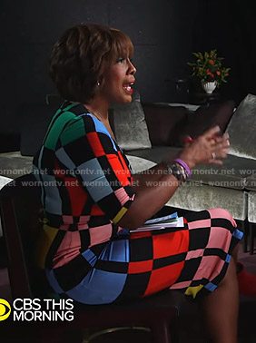Gayle's colorblock fitted dress on CBS This Morning