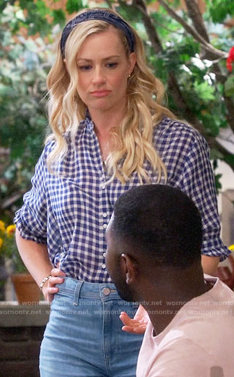 Gemma's blue gingham shirt with ruffle trim on The Neighborhood